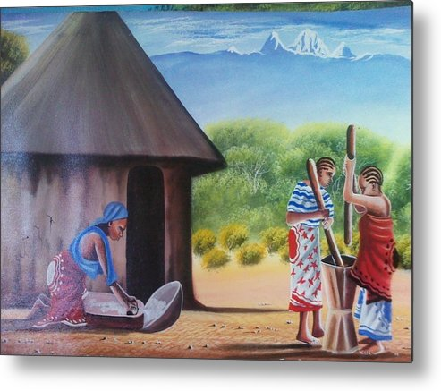 Metal Print featuring the painting Traditional African Women by John