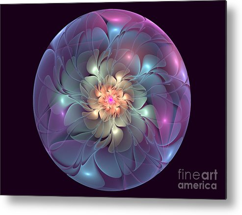 Apophysis Flower. Metal Print featuring the digital art Trapped Blossom by Anna Manfredini