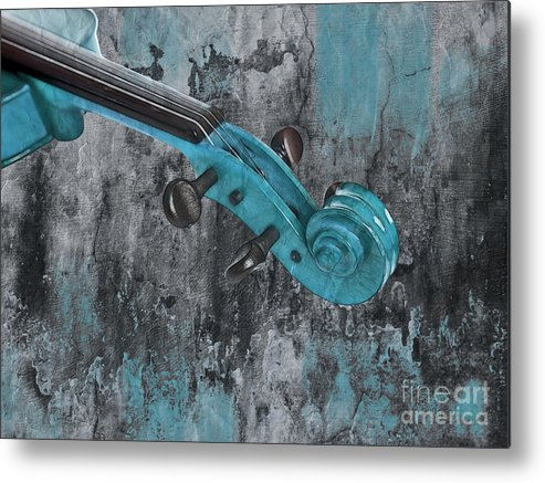 Violin Metal Print featuring the photograph Violinelle - Turquoise 04d2 by Variance Collections