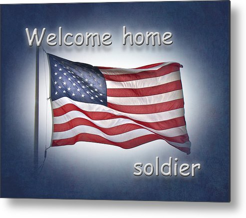Welcome home soldier greeting card american flag metal print by welcome home soldier metal print featuring the photograph welcome home soldier greeting card american flag m4hsunfo