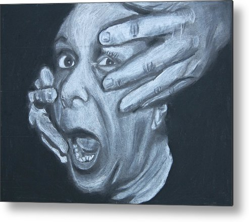 Charcoal Metal Print featuring the drawing When They Come 2 by Hannah Greer