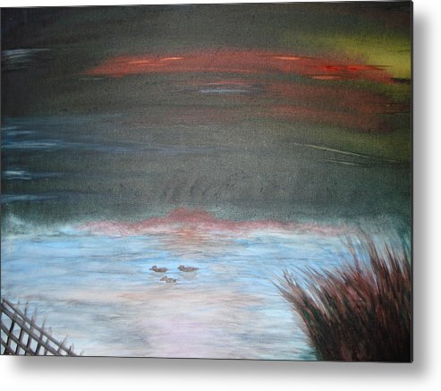 Landscape Metal Print featuring the painting Where The Life Meets The Horizon by Prasenjit Dhar
