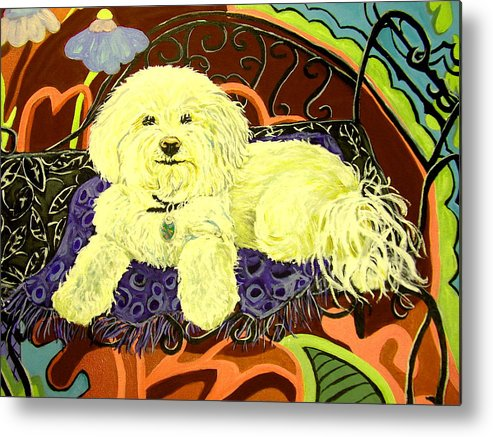 Art Metal Print featuring the painting White Dog In Garden by Patricia Lazar