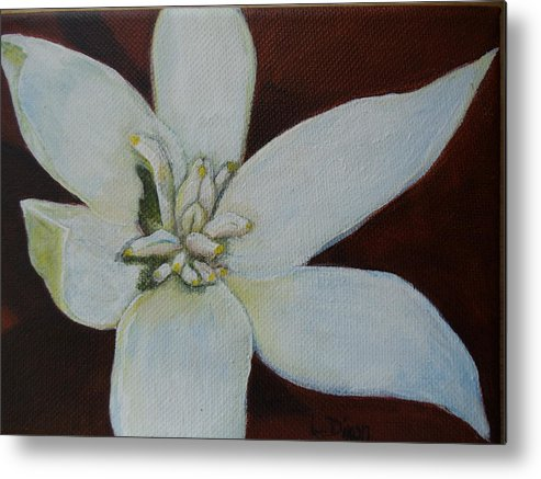Flower Metal Print featuring the painting White Flower by Lugenia Dixon
