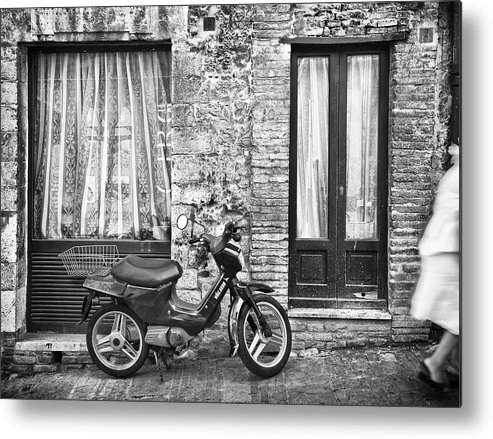 Scooter Metal Print featuring the photograph Woman Rushes From Scooter by Ercole Gaudioso