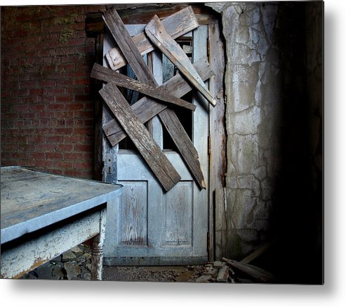 Horror Metal Print featuring the photograph Zombie Door by Brandon Wunder