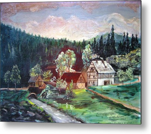 Schwartzwald Jaeger (hunter) Haus Metal Print featuring the painting Black Forest Germany by Alfred P Verhoeven