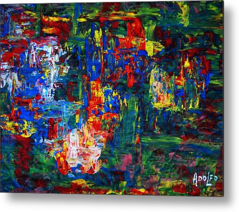 Intense Metal Print featuring the painting .. Jungle Silk... by Adolfo hector Penas alvarado