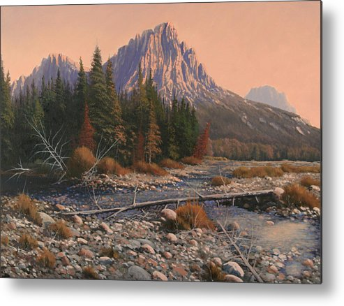 Rocky Mountain Landscape Metal Print featuring the painting 080525-1620 Fading Light On Horse Thief Creek by Kenneth Shanika