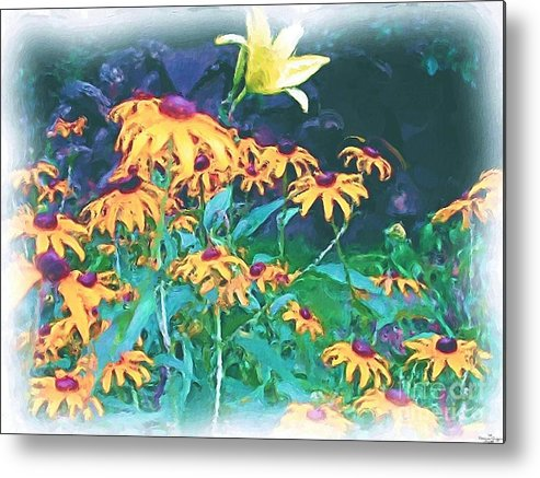 Mixed Media Metal Print featuring the painting A Lily In The Field by Patricia Griffin Brett