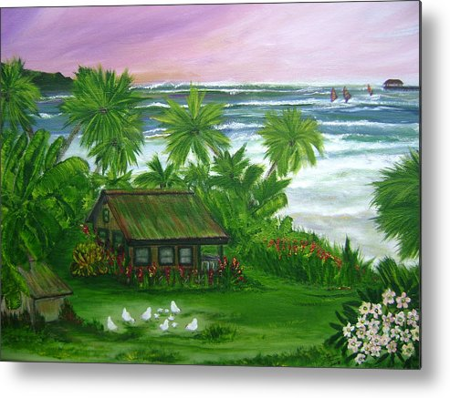 Hawaii Metal Print featuring the painting Aloha Morning by Laura Johnson