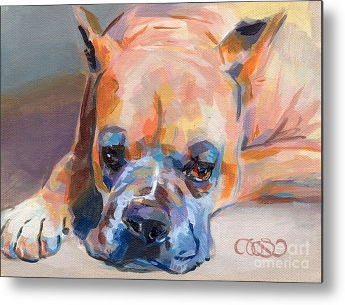 Boxer Metal Print featuring the painting Andre by Kimberly Santini