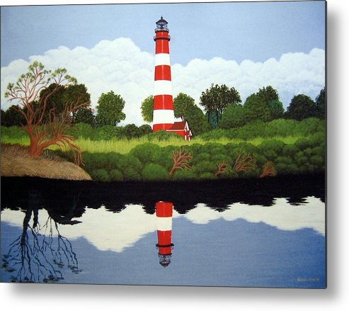 Fine Art Lighthouse Paintings Metal Print featuring the painting Assateague Island Lighthouse by Frederic Kohli