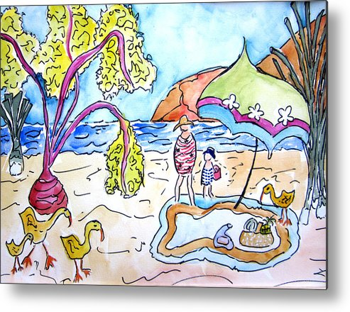 Beach Metal Print featuring the painting Beach Picnic by Suzanne Stofer