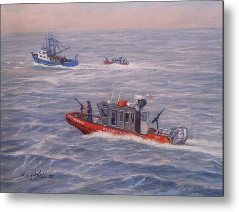 Boats Metal Print featuring the painting Coast Guard In Pursuit by William H RaVell III