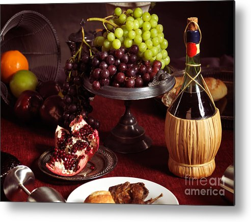 Feast Metal Print featuring the photograph Festive Dinner Still Life by Oleksiy Maksymenko