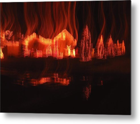 Flaming Houses Lights Water Reflection Christmas Arizona City Arizona 2005 Metal Print featuring the photograph Flaming Houses Lights Water Reflection Christmas Arizona City Arizona 2005 by David Lee Guss