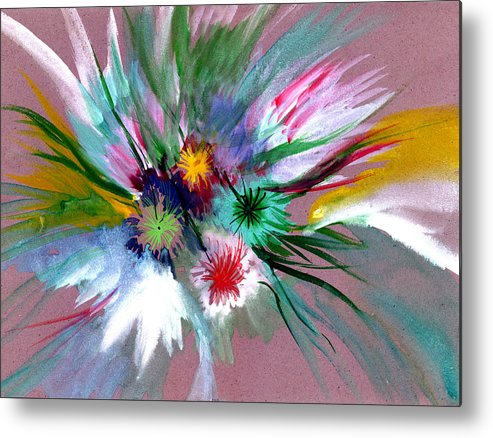 Flowers Metal Print featuring the painting Flowers by Anil Nene