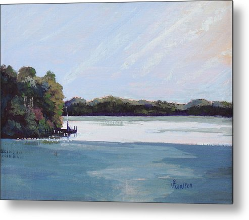 Landscape Metal Print featuring the painting Gibralter Morn by Judy Fischer Walton