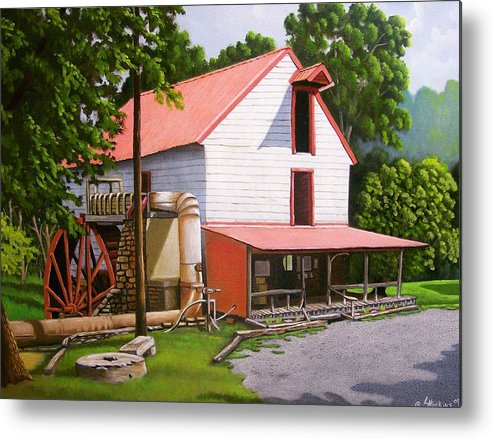 Landscapes Metal Print featuring the painting Guilford Mill by Larry Hoskins