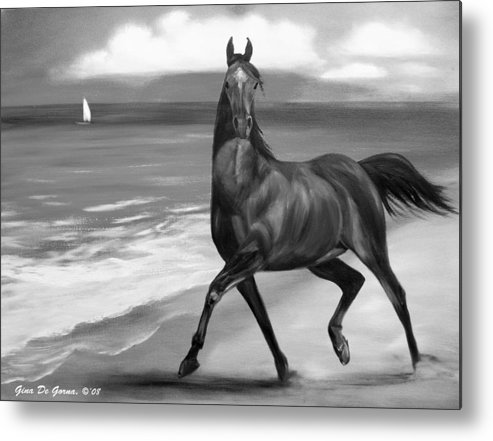 Horses Metal Print featuring the painting Horses In Paradise Dance by Gina De Gorna