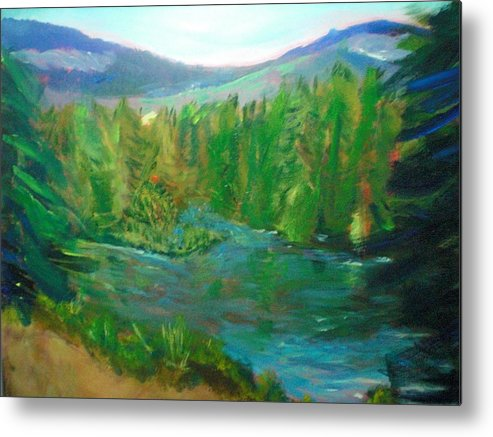Landscape Metal Print featuring the painting Lost Lake by Lauren Mooney Bear