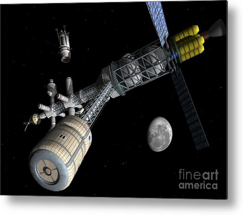 Space Exploration Metal Print featuring the digital art Lunar Cycler Centrifuge by Walter Myers