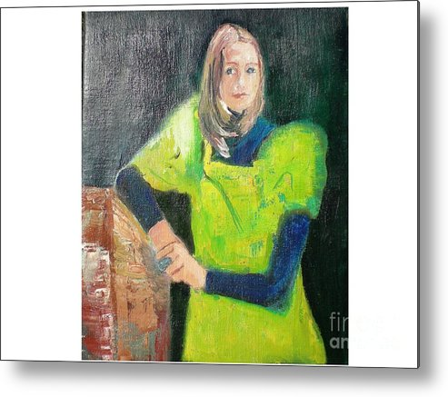 Portrait Metal Print featuring the painting Mary by Hal Newhouser