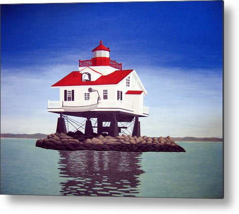 Lighthouse Paintings Metal Print featuring the painting Old Plantation Flats Lighthouse by Frederic Kohli
