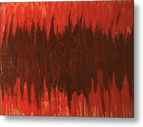 Red Metal Print featuring the painting Pressure by Laurette Escobar