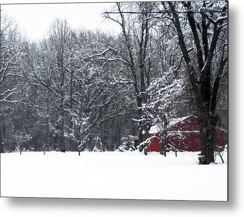 Snow Metal Print featuring the photograph Red Barn by Cindy Yeakel