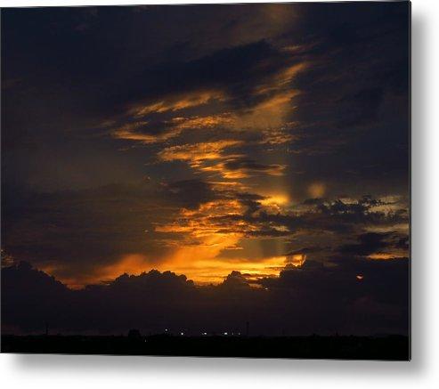 Daytona Beach Florida International Speedway Nascar Sunset Clouds Sky Red Metal Print featuring the photograph Sunset Over Daytona International Speedway by Duff DeVaul
