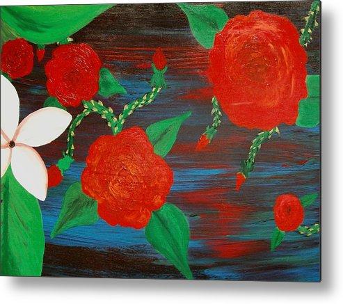 Roses Metal Print featuring the painting Temper Temper by Laurette Escobar