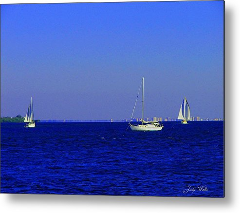 Blue Metal Print featuring the photograph There Are Three by Judy Waller
