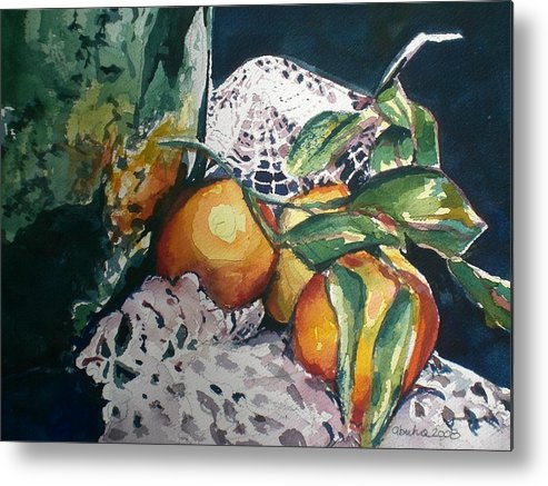 Oranges Metal Print featuring the painting Three Oranges by Aleksandra Buha