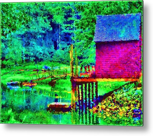 Boathouse Metal Print featuring the painting 11052008a Boat House On The Inlet by Ed Immar