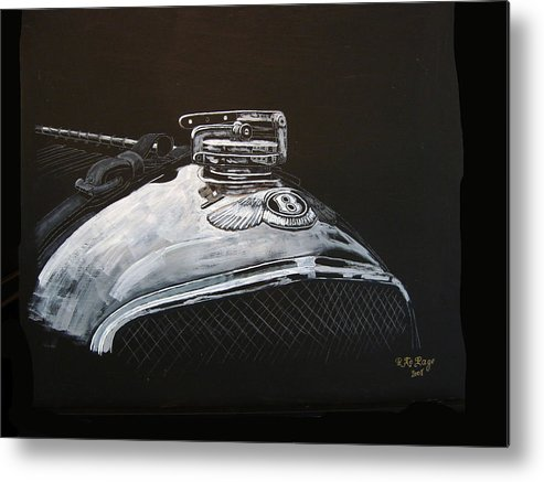 Bentley Metal Print featuring the painting 1928 Bentley Rad Cap by Richard Le Page