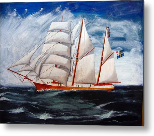 Tall Ship Metal Print featuring the painting 3 Master Tall Ship by Richard Le Page