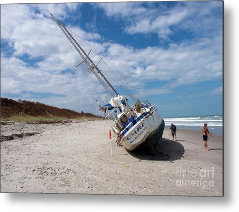 Boat Metal Print featuring the photograph Ghost Ship Beached By Hurricane Irma by Allan Hughes