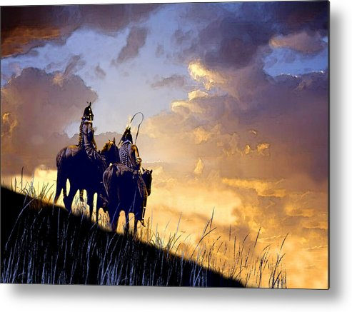 Native Americans Metal Print featuring the painting Going Home by Paul Sachtleben