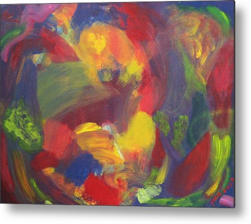 Abstract Metal Print featuring the painting On The Verge by Patricia Ortman
