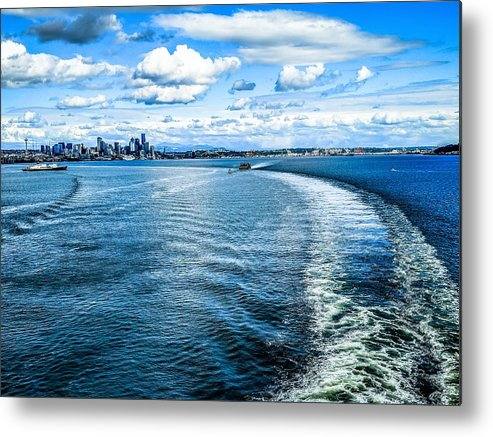 Space Metal Print featuring the photograph Seattle Washington Cityscape Skyline On Partly Cloudy Day by Alex Grichenko