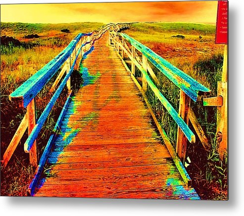 Endless Landscape Metal Print featuring the painting 2355z Wooden Walkway by Ed Immar