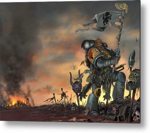 Warhammer Metal Print featuring the digital art Warhammer by Mery Moon