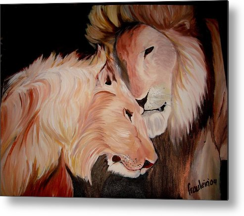 Lion Metal Print featuring the painting Lion's Love by Glory Fraulein Wolfe