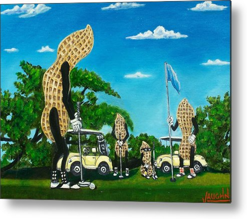 Landscape Metal Print featuring the painting Nutz Bout Golf by Charles Vaughn