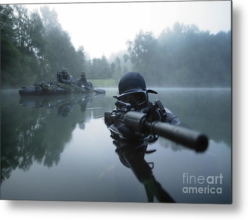 Special Operations Forces Metal Print featuring the photograph Special Operations Forces Combat Diver by Tom Weber