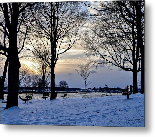 Sunset Metal Print featuring the photograph Sunset Over Obear Park In Snow by Scott Hufford