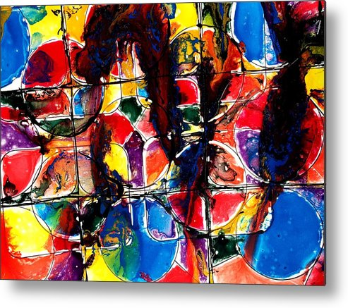Jugglery Metal Print featuring the painting Jugglery Of Colors by Baljit Chadha