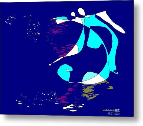 Man Metal Print featuring the painting Abstract by Victoria Wang